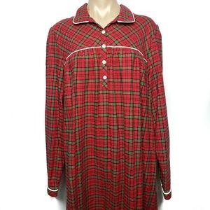 LL Bean Pajama Long Prairie Flannel Nightgown